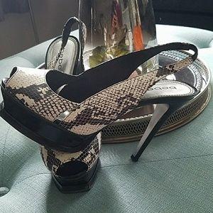 Snake skin Sling back peep toe heels
